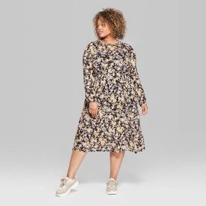 Wild Fable Floral Tiered Mesh Midi Dress